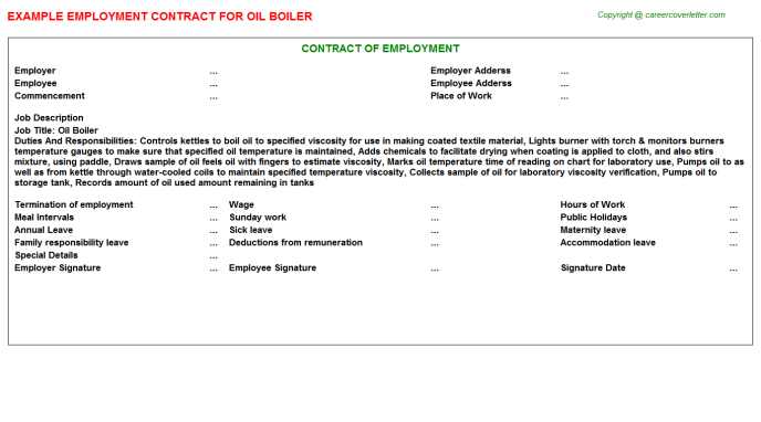 oil boiler employment contract template
