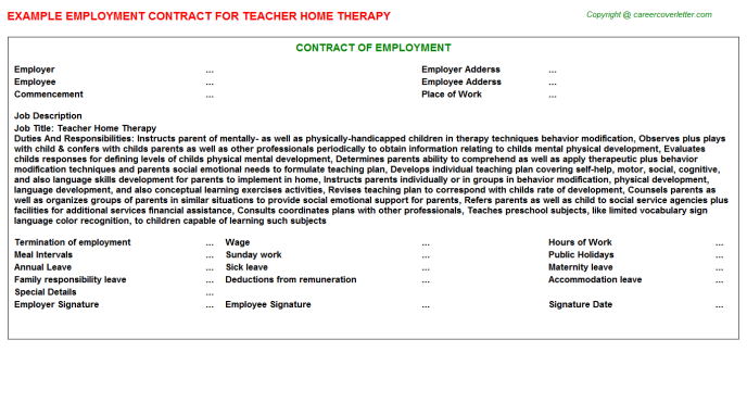 Teacher Home Therapy Employment Contract Template