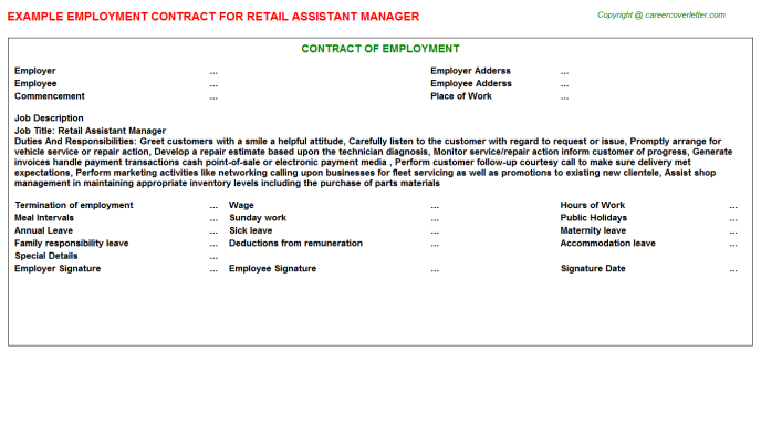 Retail Assistant Manager Employment Contract Template