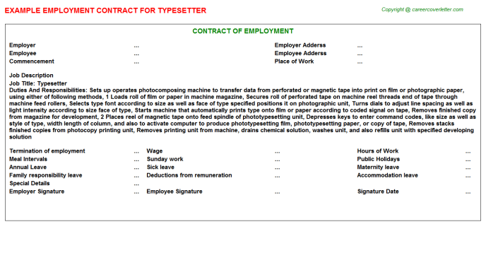 Typesetter Employment Contract Template