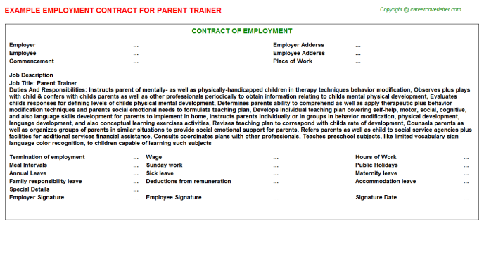 Parent Trainer Employment Contract Template