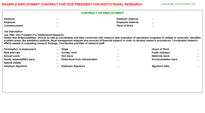 vice president for institutional research employment contract template