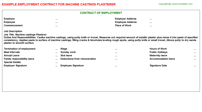 machine castings plasterer employment contract template