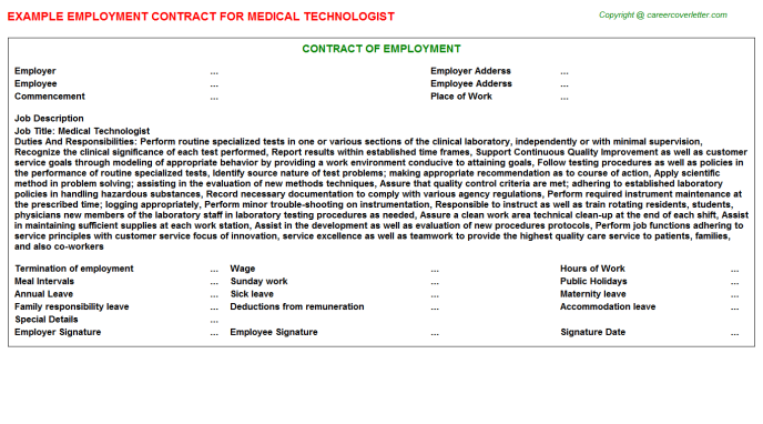 Medical Technologist Employment Contract Template