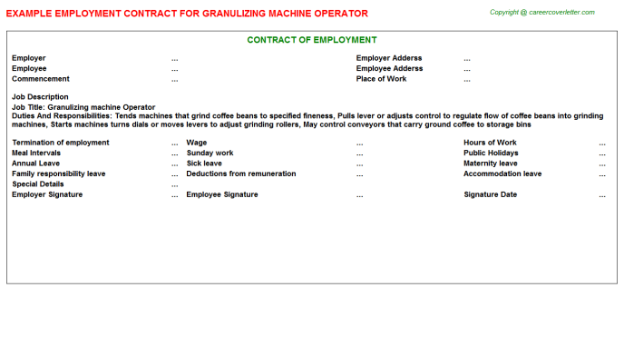 Granulizing machine Operator Employment Contract Template