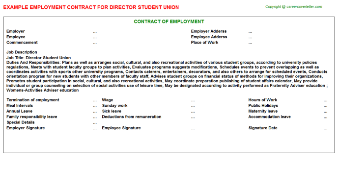 Director Student Union Employment Contract Template