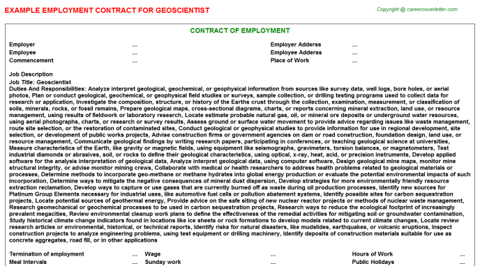 Geoscientist Employment Contract Template