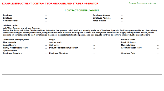 groover and striper operator employment contract template