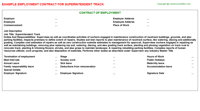 Superintendent Track Employment Contract Template