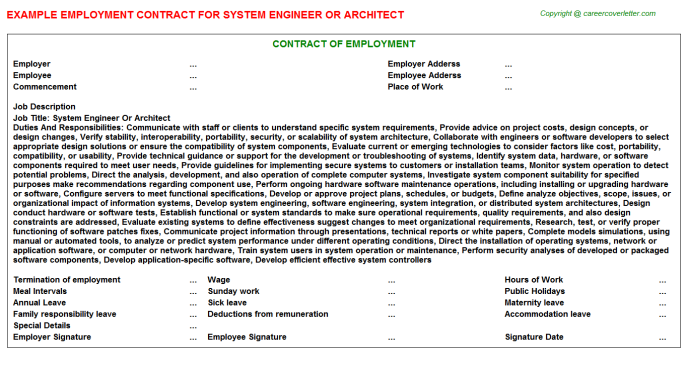 System Engineer Or Architect Employment Contract Template