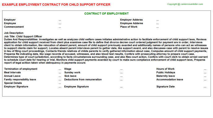 child support officer employment contract template