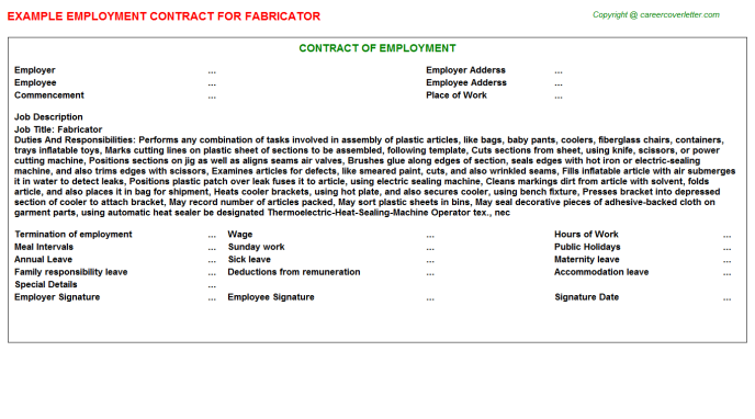 Fabricator Employment Contract Template