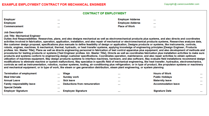 Mechanical Engineer Employment Contract Template