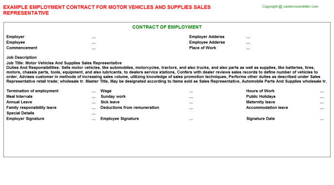 Motor Vehicles And Supplies Sales Representative Employment Contract Template