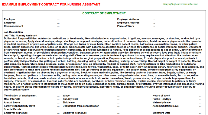 Nursing Assistant Employment Contract Template