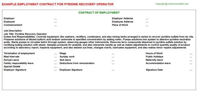 pyridine recovery operator employment contract template