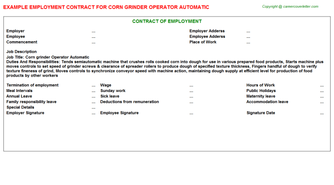 Corn Grinder Operator Automatic Employment Contract Template