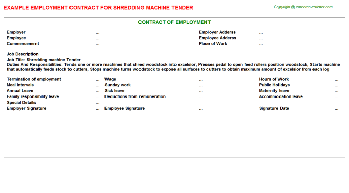 Shredding Machine Tender Employment Contract Template