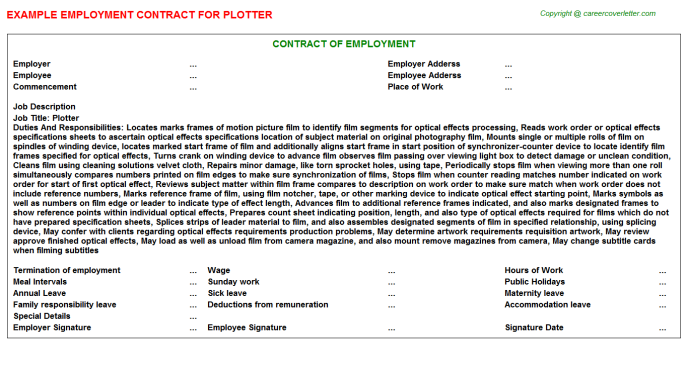 Plotter Employment Contract Template