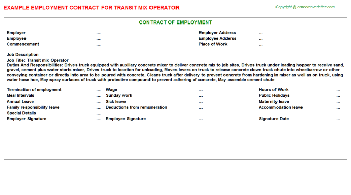 Transit mix Operator Employment Contract Template