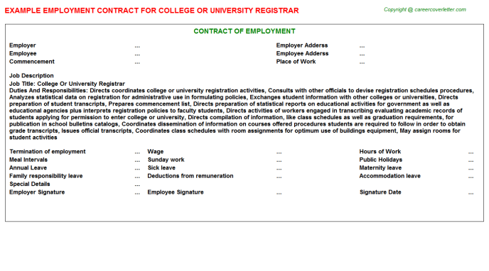 College Or University Registrar Employment Contract Template