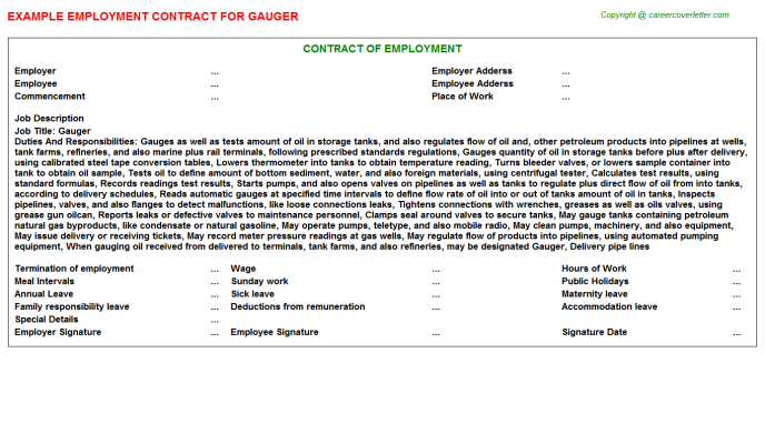 Gauger Job Employment Contract Template
