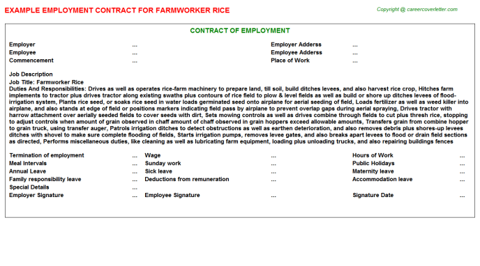 Farmworker Rice Job Employment Contract Template