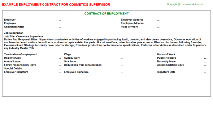 cosmetics supervisor employment contract template