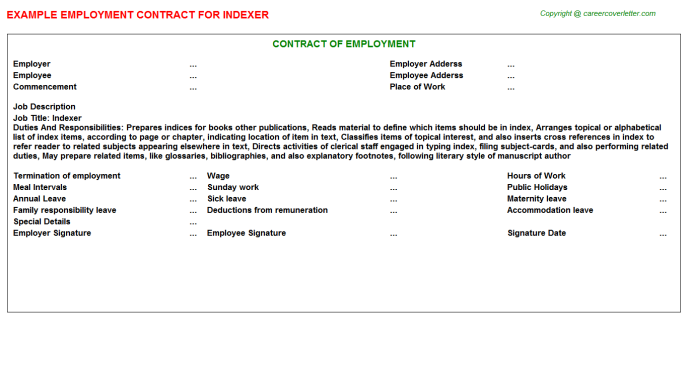 Indexer Employment Contract Template