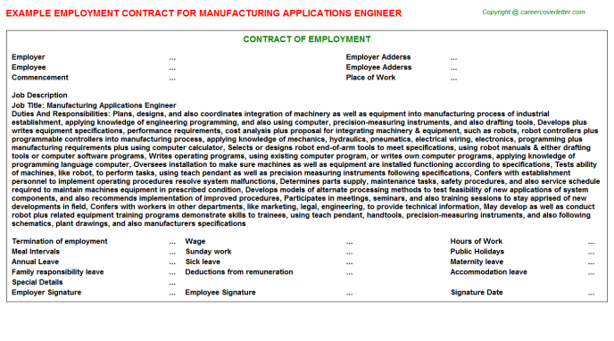 Manufacturing Applications Engineer Employment Contract Template