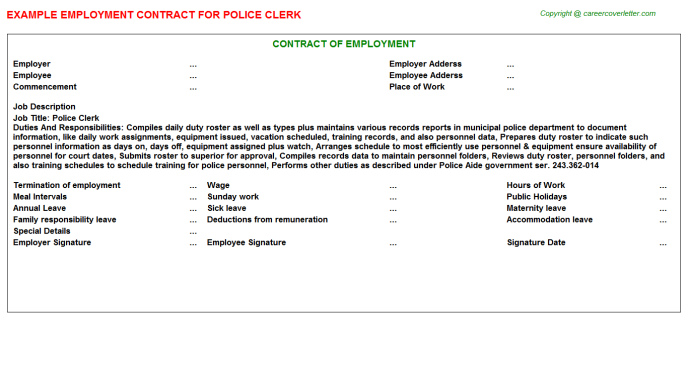 police clerk employment contract template