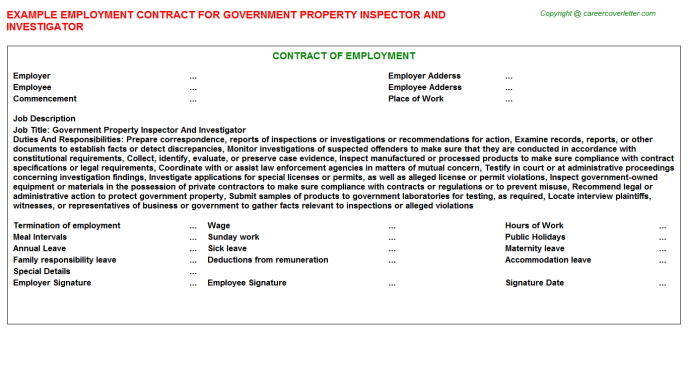 Government Property Inspector And Investigator Job Employment ...