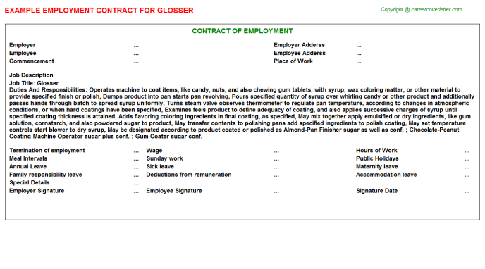 glosser employment contract template