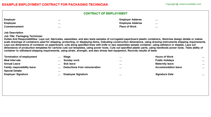 Packaging Technician Employment Contract Template