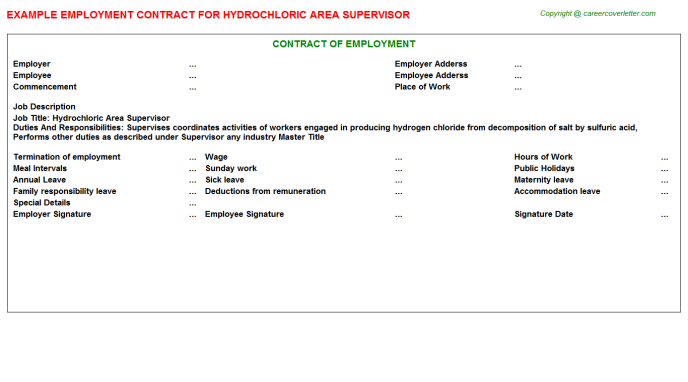 hydrochloric area supervisor employment contract template