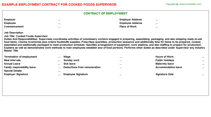 cooked foods supervisor employment contract template
