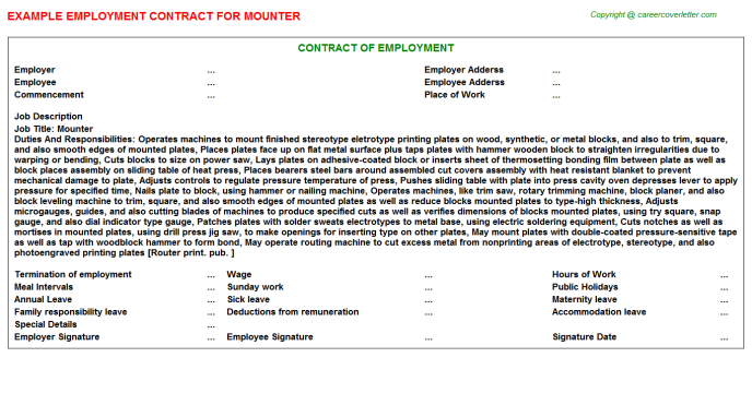 Mounter Employment Contract Template