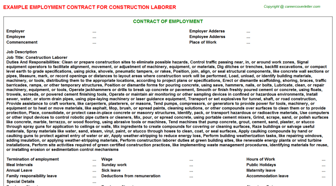 Swimming Pool Construction Employment Contracts