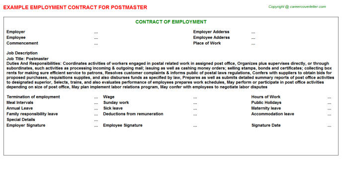 Postmaster Job Employment Contract Template