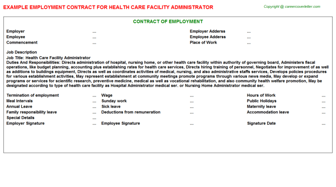 health care facility administrator employment contract template