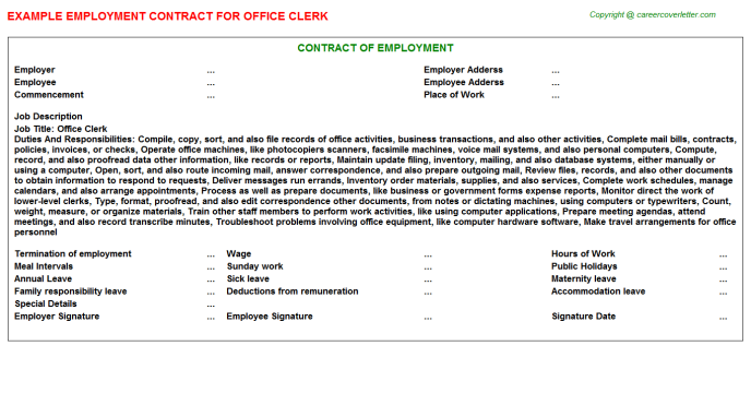 Office Clerk Employment Contract Template