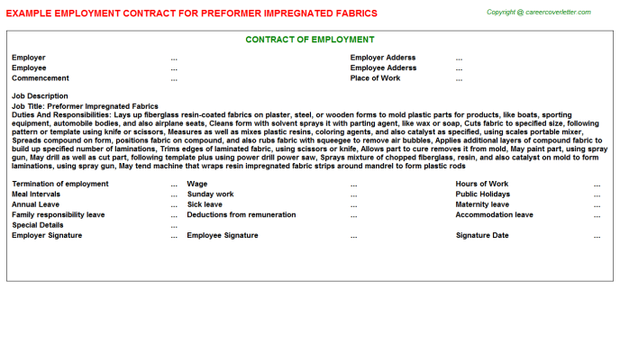 Preformer Impregnated Fabrics Employment Contract Template