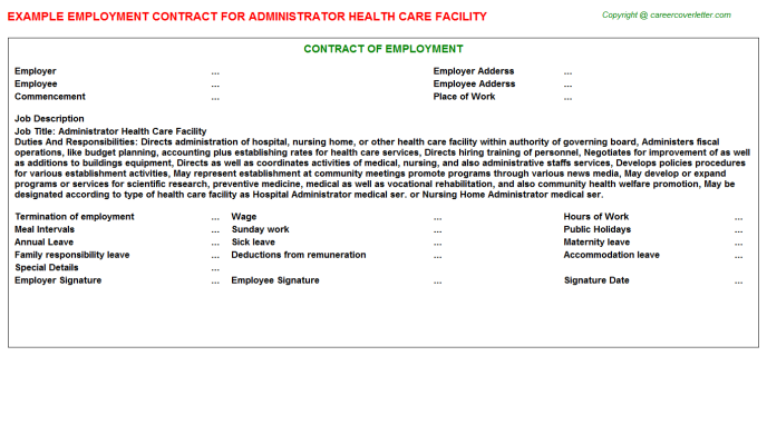 Administrator Health Care Facility Employment Contract Template