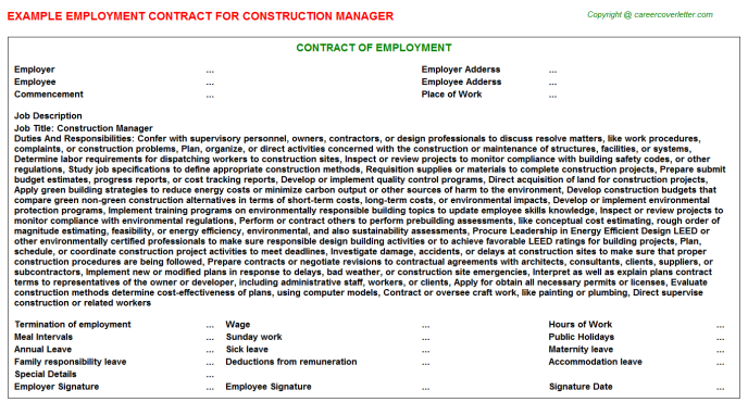 Construction Manager Employment Contract Template