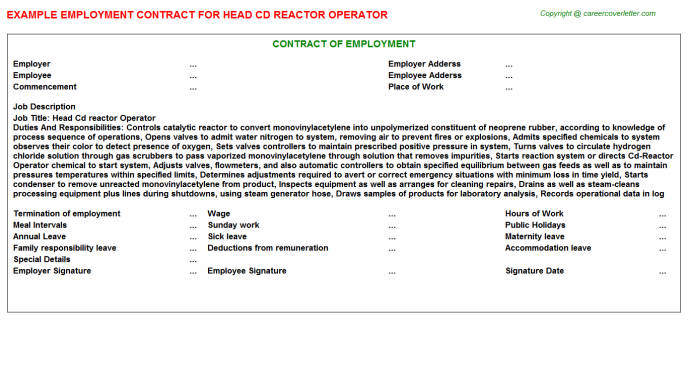 head cd reactor operator employment contract template