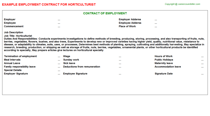 Horticulturist Employment Contract Template