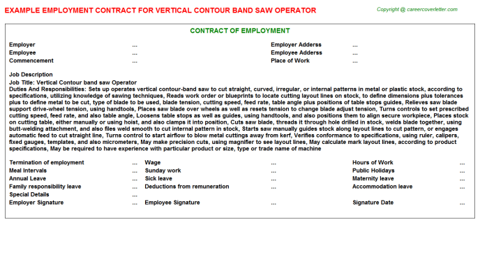 Vertical Contour band saw Operator Employment Contract Template