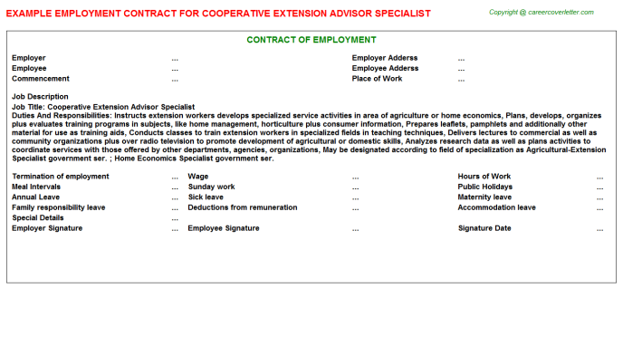 Cooperative Extension Advisor Specialist Employment Contract Template