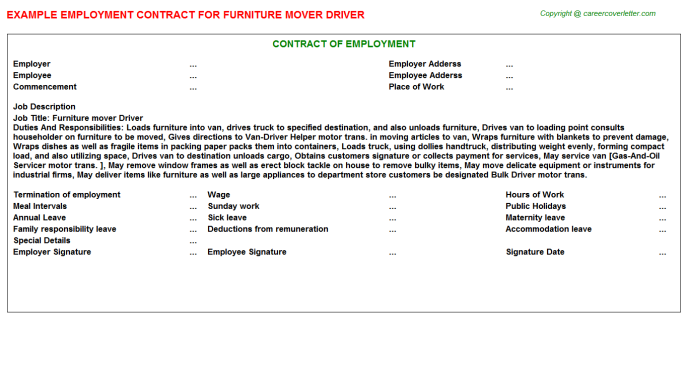 Furniture Mover Driver Employment Contract Template