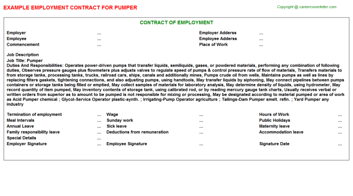 Pumper Employment Contract Template